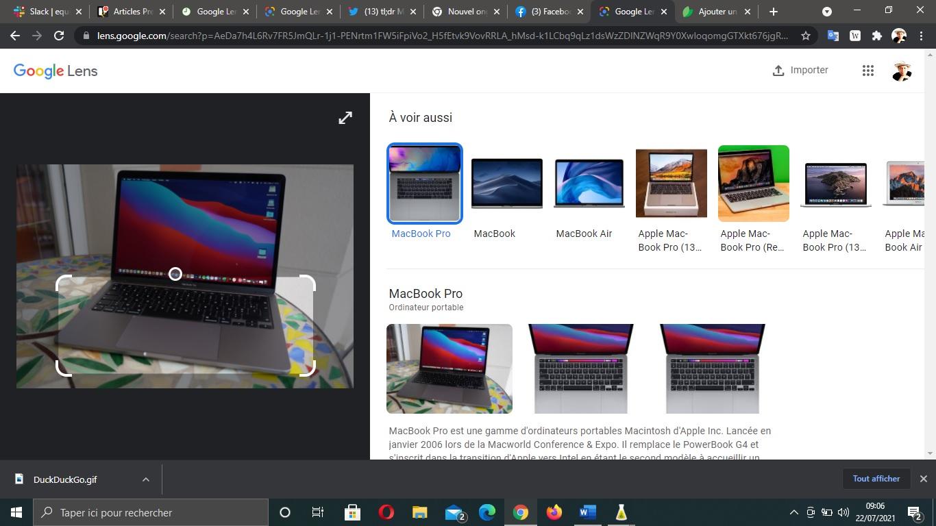 Google Lens sur ordinateur