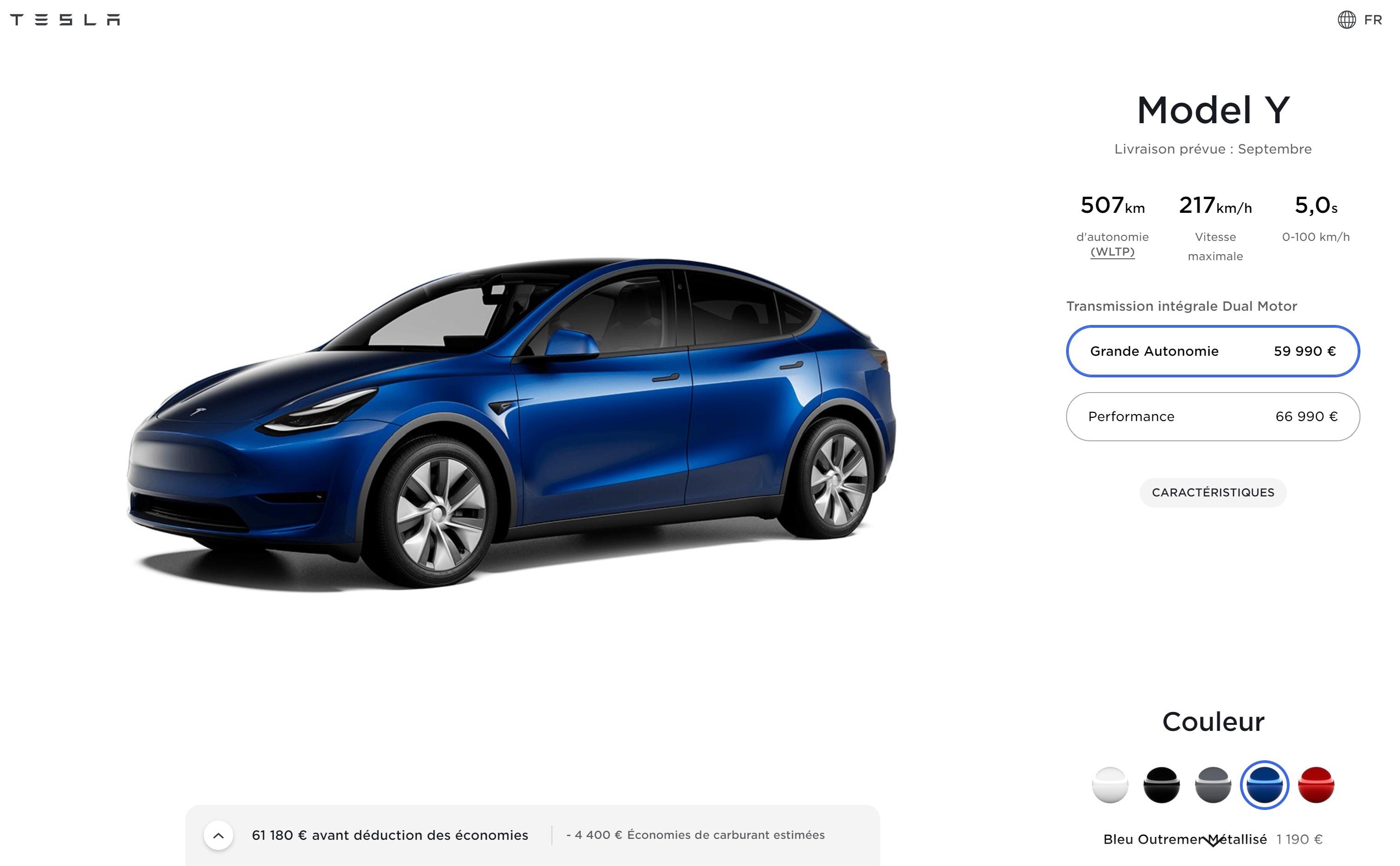 Tesla Model Y configuration